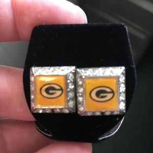 Jewelry - Vintage Green Bay Packers Silver Rhinestn Earrings